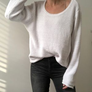 VINTAGE/ chunky ribbed slouchy knit sweater